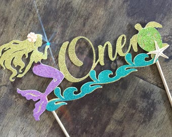 Mermaid Cake Topper. First Birthday Cake Topper, Under the Sea Cake Topper. One Mermaid Birthday Cake Topper with starfish