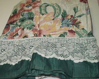 Set Of Country Floral Ruffles and Lace Full Length Vintage Curtains with Valance USA  Window Treatment 517