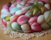 "Hand Dyed Roving / Fuchsia Aqua Chartreuse Flamingo Tropical White / ""Miami"" / Merino Wool Spinning Fiber 4.3oz / NEW"