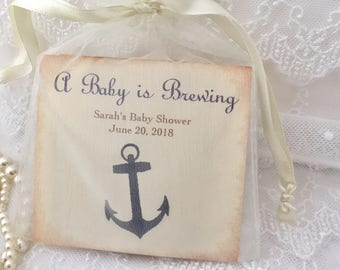 Nautical Favors Baby Shower Favors Anchor Tea Bags Set of 10
