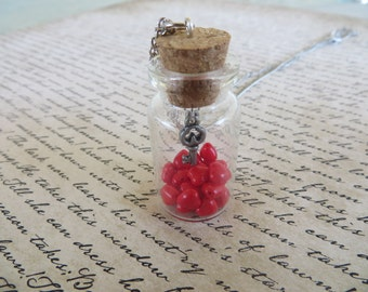 Glass Jar Pendant With Red Hearts And Key On Silver Chain