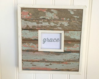 Grace Print in Rustic Frame Wood from Hurricane Katrina