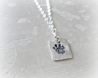 Paw Print Necklace, Stamped Pendant, Sterling Necklace, Small Paw Necklace, Hammered Pendant, Pet Lover Gift, Metalwork Jewelry