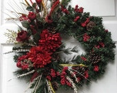 BLACK FRIDAY SALE Winter Wreath - Red Mum Wreath - Holiday Wreath – Christmas Wreath - Christmas Door Wreath - Fall Wreath