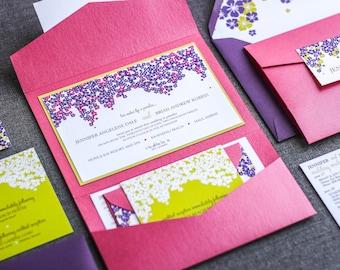 "Hawaiian Wedding Invitations, Summer Wedding Invitations, Tropical Wedding Invitation, Custom Invitation Suite - ""Cascading Hibiscus"" PF-1L"