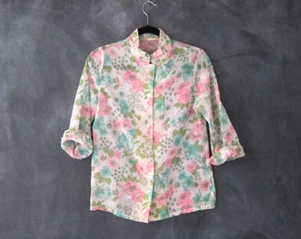 Blouse Pastel Sheer Floral Mandarin Collar Cotton Blend Hippie Boho Top Ladies Size S