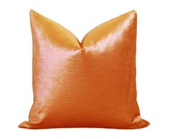 Glisten Velvet Pillow Cover - Orange Pillow - Tangerine Pillow - Velvet Pillow - Decorative Pillow - Designer Pillow - Shiny Velvet Pillow