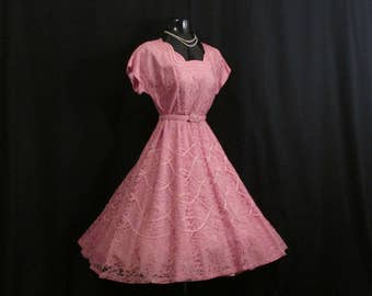 Vintage 1950's 50s Gloria Swanson Pink Lace Tulle Ribbon Party Prom Wedding DRESS Gown XL Plus Size
