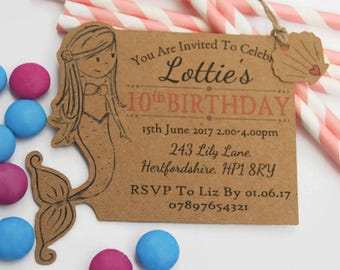 x10 Girls Mermaid Birthday Party Invites Invitations tags Personalised under the sea Beach Party Pool Party