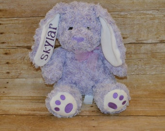 personalized bunny- stuffed animal- custom plushie-custom name-embroidery-Easter gift-rabbit