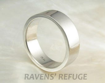 7mm wide mens platinum pipe / flat wedding band / wedding ring, hand forged