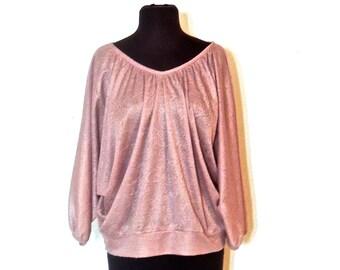 vintage Neiman Marcus top - 1960s-70s off-shoulder mauve paisley textured cropped blouse