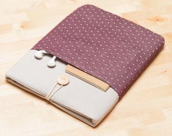 Macbook pro 15 case, 15 inch Macbook sleeve, 15 inch laptop cover, macbook 15 sleeve - Red dots in grey