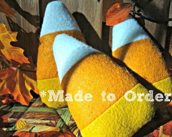 Candy Corns 3 | MADE TO ORDER | Bowl Filler Set | Fall Autumn Decor | Halloween | White Orange Yellow Felt | Unfinished | Create | Handmade
