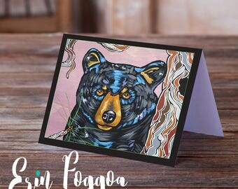 The Bear Necessities, Bear Art cards pack of FOUR folk art animal art greeting card canadian wildlife