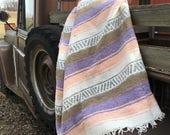 Vintage Mexican Hippie Blanket Multi Colors Pink Purple White Brown