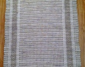 Beige rag rug, loom woven, made in USA