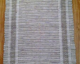 Beige rag rug, loom woven, made in USA