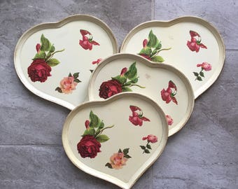 """Set of 4 Wooden Heart Shaped Vintage Trays with Rose decals, 9"""" x 10 1/2"""""""