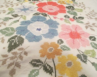 Vintage 1970's Hand Cross Stitched Queen/Double Coverlet Bedspread