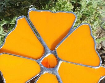 California Poppy- art glass flower 5.5 inches  bright orange stained glass
