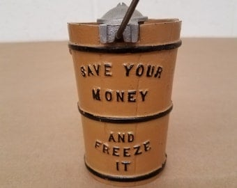 Vintage Metal Ice Cream Churn Bank