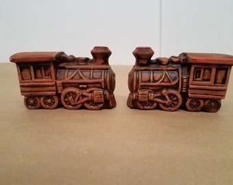 Vintage Pair of Train Salt and Pepper Shakers