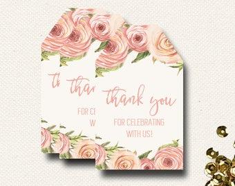 Shower Favor Tags | Floral Roses | Wedding Favor Tag | Printable PDF File