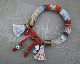 Crochet Tube Tassel Bangle Red and Turquoise Evil Eye Charm