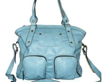 Leather tote bag leather handbag leather crossbody bag leather messenger leather tote bag shoulder bag laptop bag Magui L, light blue, sale!
