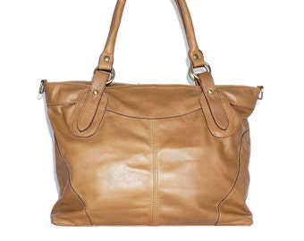 Nora BIS L. Leather Tote Bag // Leather Cross-body Purse // Leather Handbag in TAN