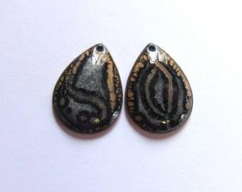 Black enamel teardrop charms Enameled drop components Artisan jewelry making findings Earring bead pair dangles
