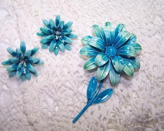 Vintage Teal Enamel Flower Brooch Demi Parue Set Jewelry Large VTG Pin