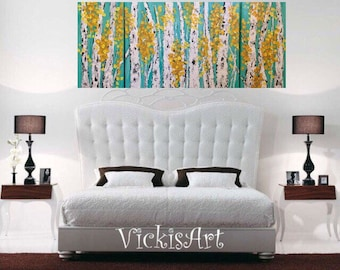 Aspen Birch Tree Wall Art Original Painting  54 x 24  h x .75  2- 12 w x 24 x and 1 30 w x 24 h x .75  wrapped canvas ready to Ships Free US