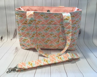 Ultimate Diaper Bag with removable strap, Large Diaper Bag, Custom disper bag, girl diaper bag, aztec diaper bag