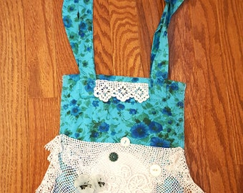Shabby Tattered Doily Bag Vintage Fabric Purse Shabby Chic Retro Blue Teal