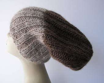 ICELANDIC LOPI WOOL Slouch Beanie Fold Up Color Block Hat in Beige Brown/ Lopi yarn Knit Slouch hat/ Ready to Ship