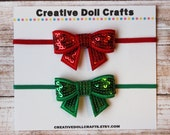 18 Inch Doll Sequin Bow Headbands, Christmas Doll Headbands, Christmas Bow Headbands For Dolls, 15 Inch Doll Headbands