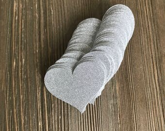 50 Silver GLITTER Heart Die Cuts no shed glitter