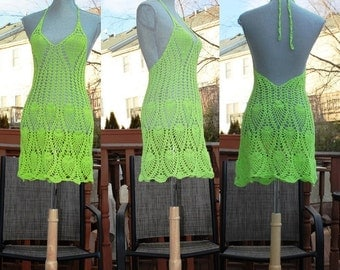 Sale : Crochet Beach Dress /  Open back / Neon green color / Beachwear / Cover up / One Of A Kind / Size Small / Ready to ship