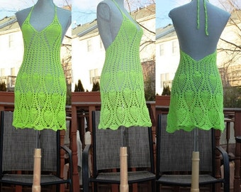 Crochet Beach Dress /  Open back / Neon green color / Beachwear / Cover up One Of A Kind/Size S-M/Ready to ship