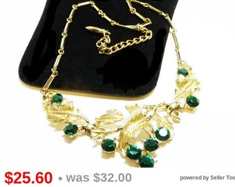 Coro Rhinestone Necklace - Choker with Leaves and Green Rhinestones - Vintage Signed Jewelry