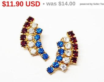 Spring Sale Patriotic Red White Blue Jewelry - Arched Rhinestone Clip on Earrings - Vintage 1960's Fashion - Prong Set Rhinestones - Vint...