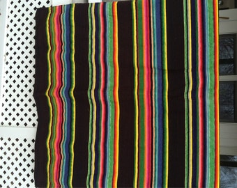 Striped Wool Blanket Vibrant Colored Stripes Black, Hot Pink, Orange,Green and Yellow Stripes Perfect Sleigh Throw Cabin Chic Southwestern
