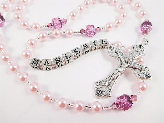 Personalized Rosary in Swarovski Pink Pearl - Baptism, First Holy Communion or Confirmation Gift