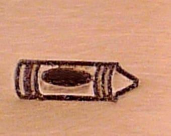 Metal Design Stamp-Crayon-Measures approx  4.5mm x 1.5mm-Steel Stamp-Metal Supply Chick-