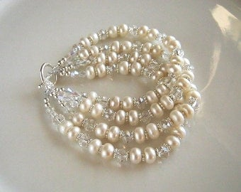 Four Strand Crystal and White Freshwater Pearl Bracelet White Pearl Bridal Bracelet Wedding Jewelry