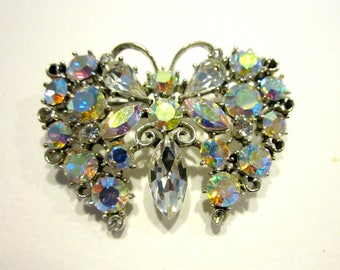 Vintage Rhinestone Butterfly Brooch  Gift for Her Gift for Mom Pin Under 15 Jewelry Gift Idea Aurora Borealis Figural