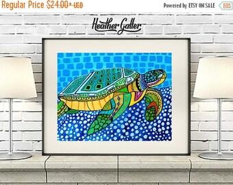 50% Off Today- Sea Turtle Art - Art Poster Print of painting by Heather Galler - Modern Folk Art Ocean (HG825)