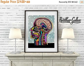 50% Off Today- Modern Anatomy Art Print  Art Print Poster by Heather Galler Science Surreal Abstract Human Body Medical Chart